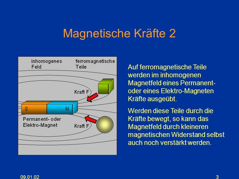 09.01.023 Magnetische Kräfte 2 Auf ferromagnetische Teile werden im inhomogenen Magnetfeld eines Permanent- oder eines Elektro-Magneten Kräfte ausgeüb