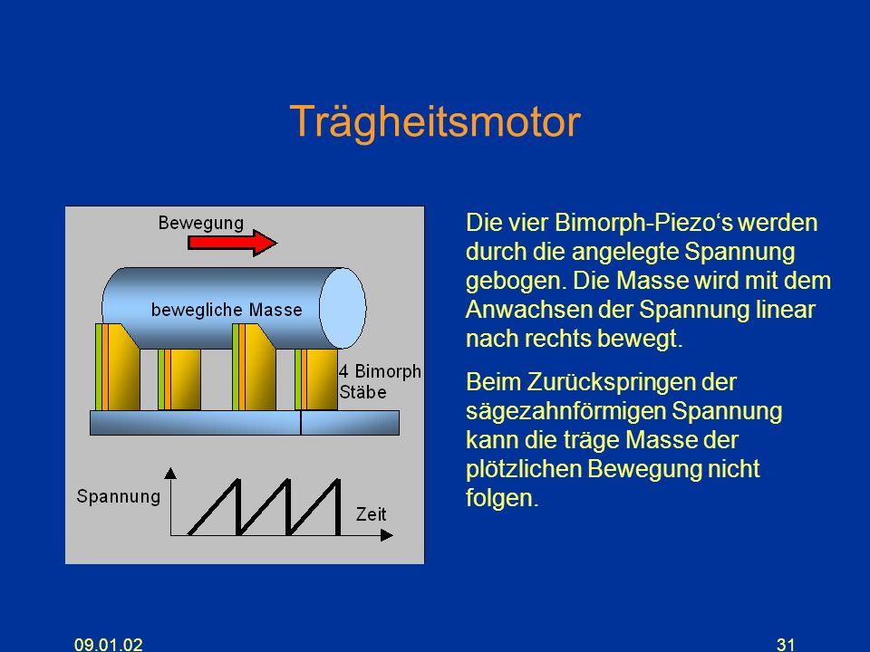 09.01.0231 Trägheitsmotor Die vier Bimorph-Piezos werden durch die angelegte Spannung gebogen. Die Masse wird mit dem Anwachsen der Spannung linear na