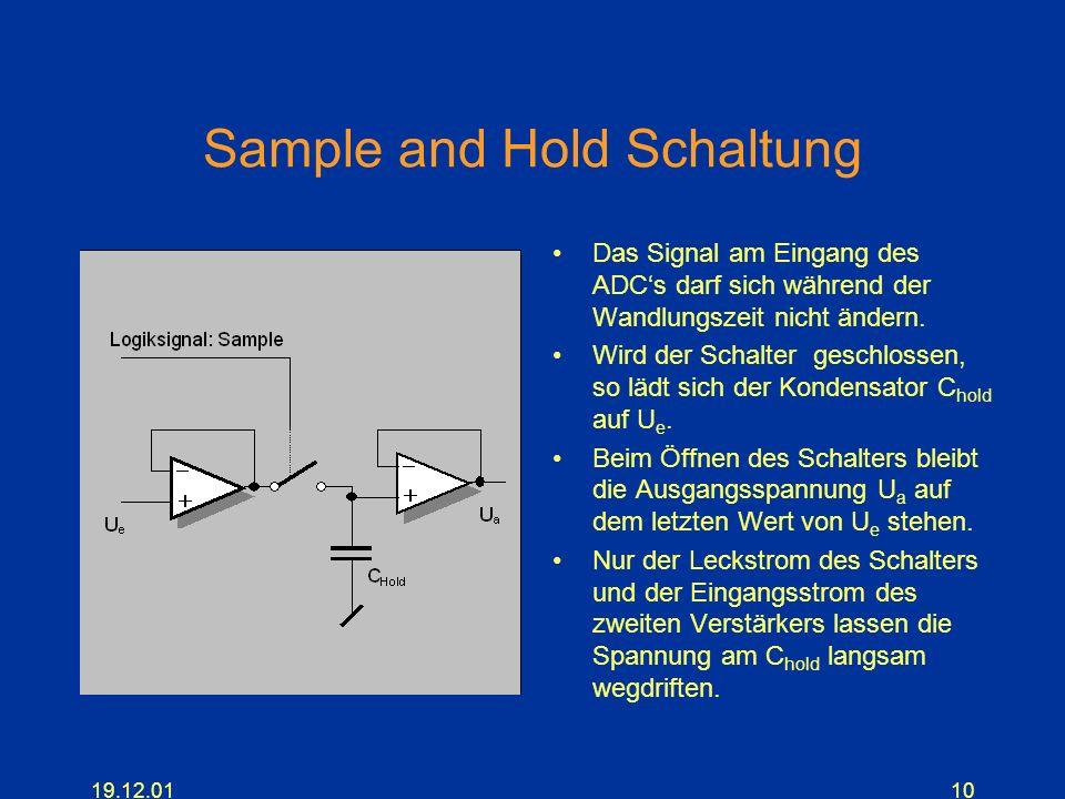 19.12.0110 Sample and Hold Schaltung Das Signal am Eingang des ADCs darf sich während der Wandlungszeit nicht ändern. Wird der Schalter geschlossen, s