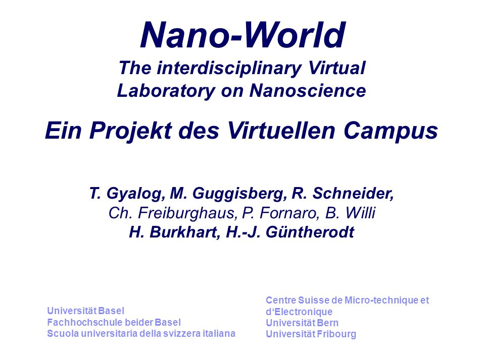Nano-World The interdisciplinary Virtual Laboratory on Nanoscience Ein Projekt des Virtuellen Campus T.