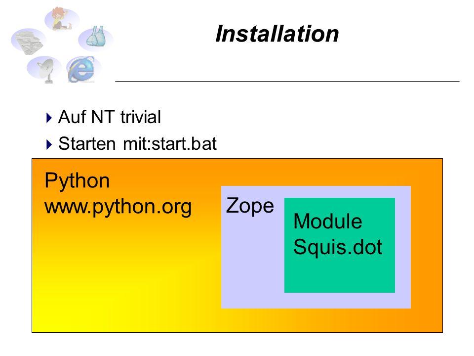 Installation Auf NT trivial Starten mit:start.bat Auschalten via Netz Python www.python.org Zope Module Squis.dot