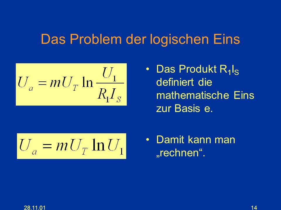 28.11.0114 Das Problem der logischen Eins Das Produkt R 1 I S definiert die mathematische Eins zur Basis e. Damit kann man rechnen.