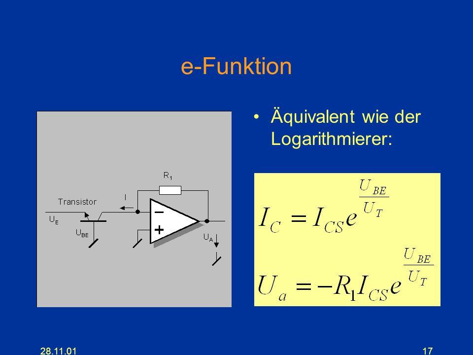 28.11.0117 e-Funktion Äquivalent wie der Logarithmierer: