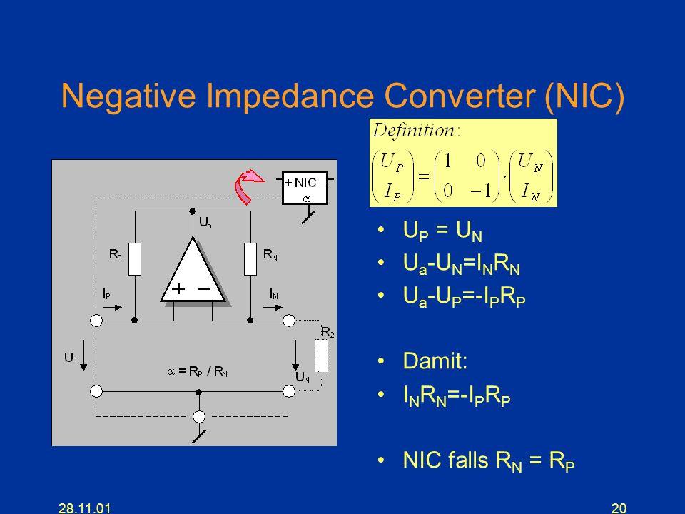 28.11.0120 Negative Impedance Converter (NIC) U P = U N U a -U N =I N R N U a -U P =-I P R P Damit: I N R N =-I P R P NIC falls R N = R P