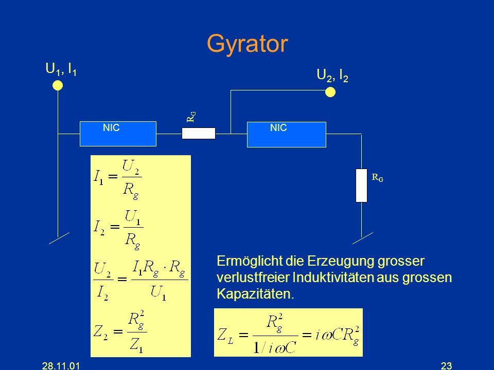 28.11.0123 Gyrator NIC RGRG RGRG U 1, I 1 U 2, I 2 Ermöglicht die Erzeugung grosser verlustfreier Induktivitäten aus grossen Kapazitäten.