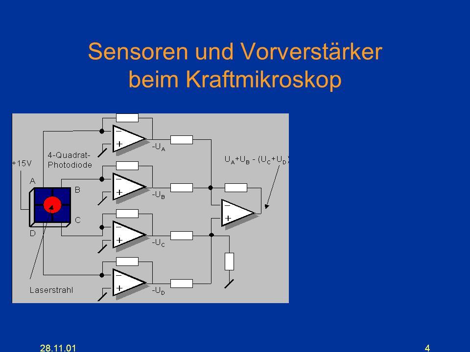 4 Sensoren und Vorverstärker beim Kraftmikroskop
