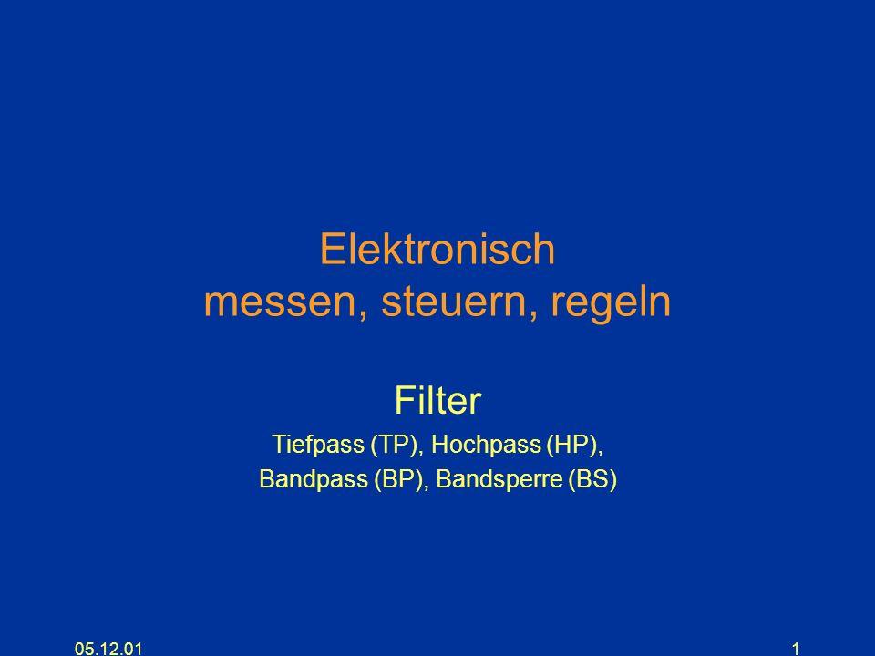 05.12.011 Elektronisch messen, steuern, regeln Filter Tiefpass (TP), Hochpass (HP), Bandpass (BP), Bandsperre (BS)