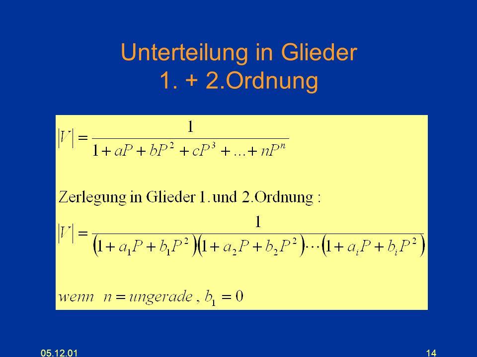 05.12.0114 Unterteilung in Glieder 1. + 2.Ordnung