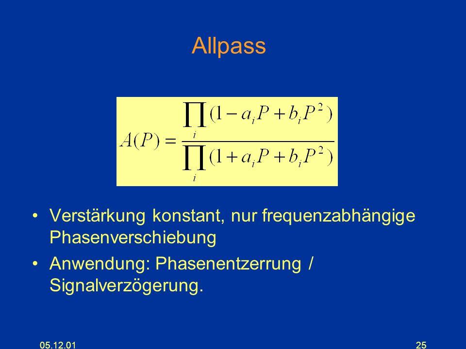 05.12.0125 Allpass Verstärkung konstant, nur frequenzabhängige Phasenverschiebung Anwendung: Phasenentzerrung / Signalverzögerung.