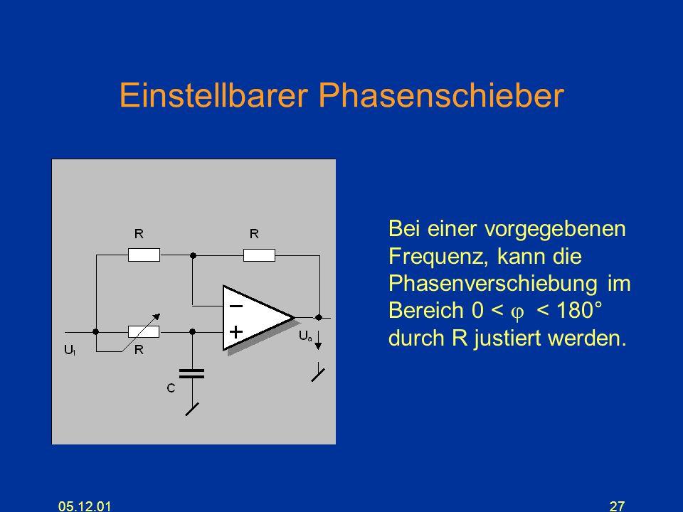 05.12.0127 Einstellbarer Phasenschieber Bei einer vorgegebenen Frequenz, kann die Phasenverschiebung im Bereich 0 < < 180° durch R justiert werden.