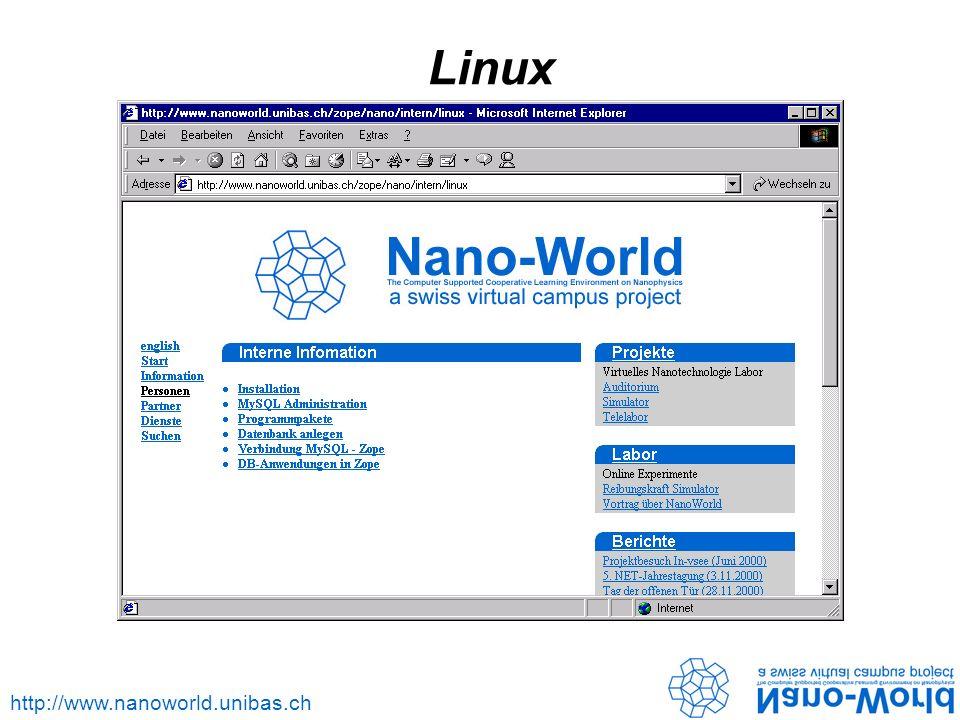 http://www.nanoworld.unibas.ch Linux