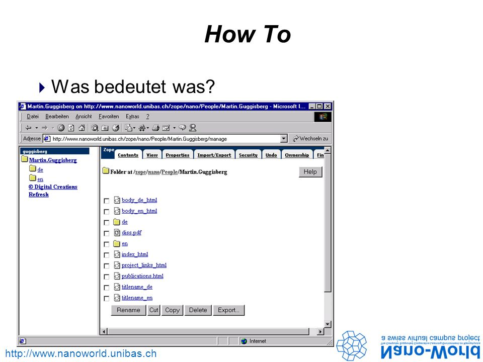 http://www.nanoworld.unibas.ch How To Was bedeutet was?
