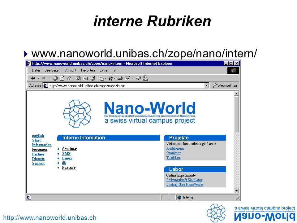 http://www.nanoworld.unibas.ch interne Rubriken www.nanoworld.unibas.ch/zope/nano/intern/