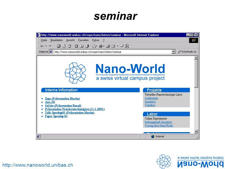 http://www.nanoworld.unibas.ch seminar