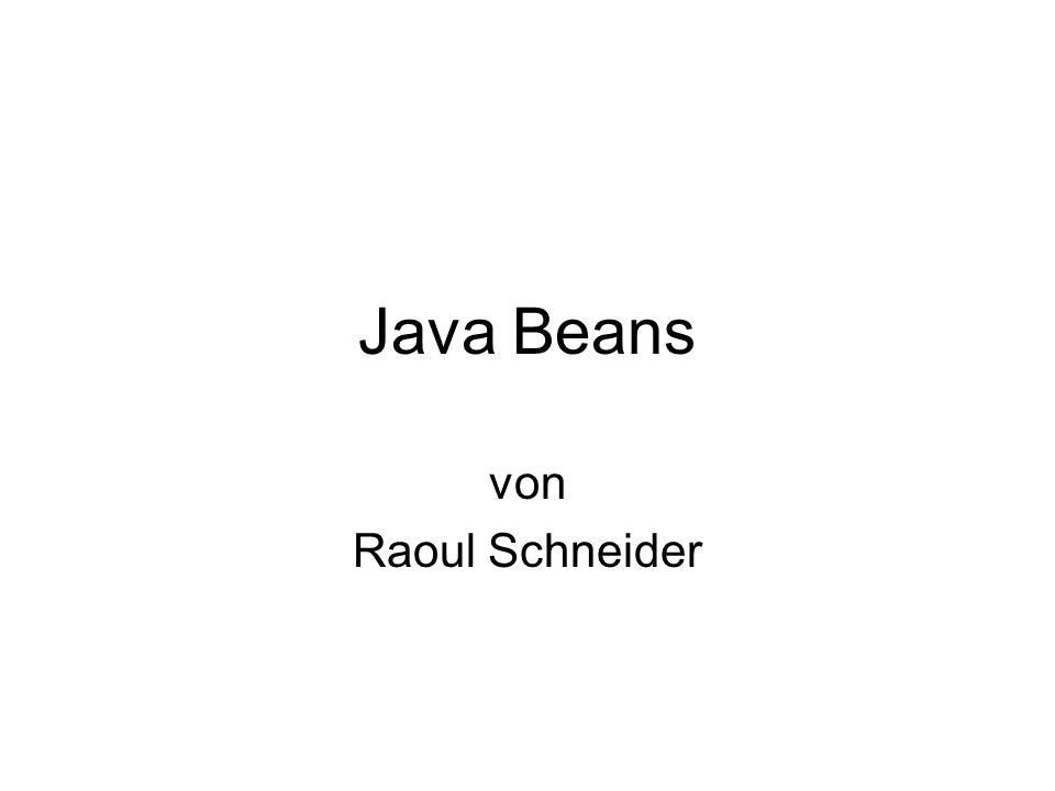 Java Beans von Raoul Schneider