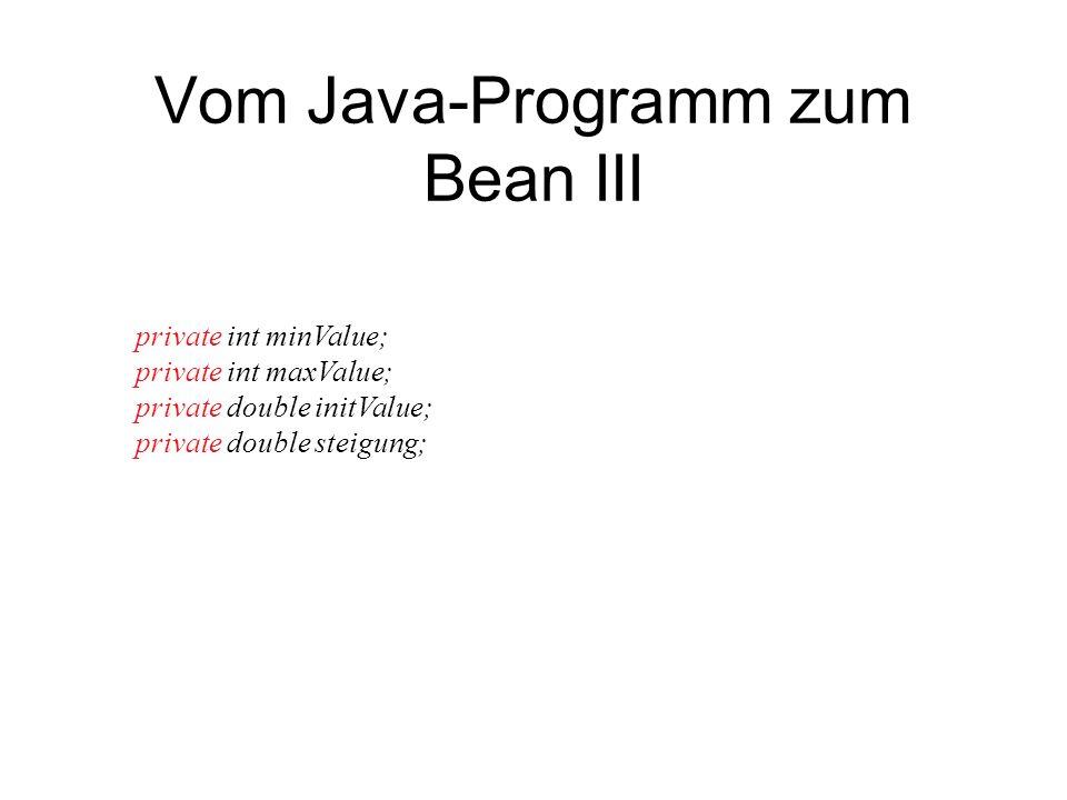 Vom Java-Programm zum Bean III private int minValue; private int maxValue; private double initValue; private double steigung;