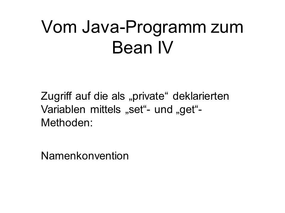 Vom Java-Programm zum Bean IV Zugriff auf die als private deklarierten Variablen mittels set- und get- Methoden: Namenkonvention