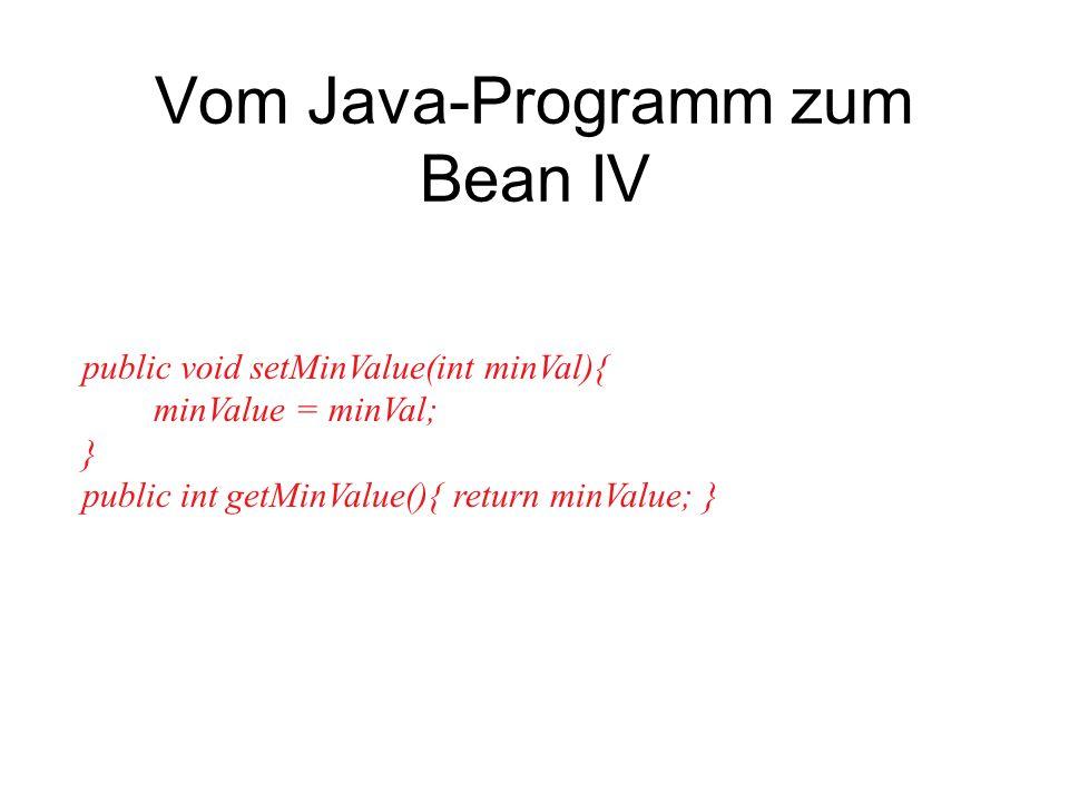 Vom Java-Programm zum Bean IV public void setMinValue(int minVal){ minValue = minVal; } public int getMinValue(){ return minValue; }