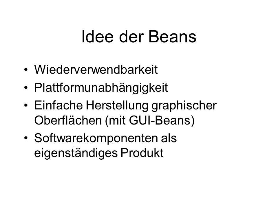 Idee der Beans Wiederverwendbarkeit Plattformunabhängigkeit Einfache Herstellung graphischer Oberflächen (mit GUI-Beans) Softwarekomponenten als eigen