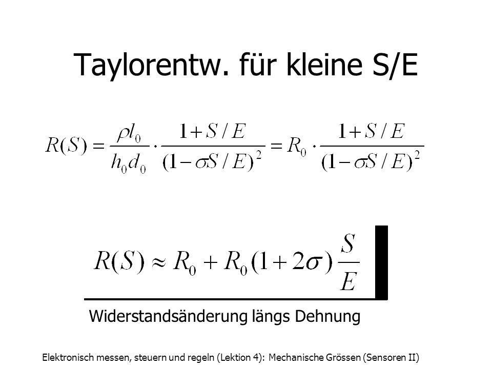 Elektronisch messen, steuern und regeln (Lektion 4): Mechanische Grössen (Sensoren II) Taylorentw. für kleine S/E Widerstandsänderung längs Dehnung