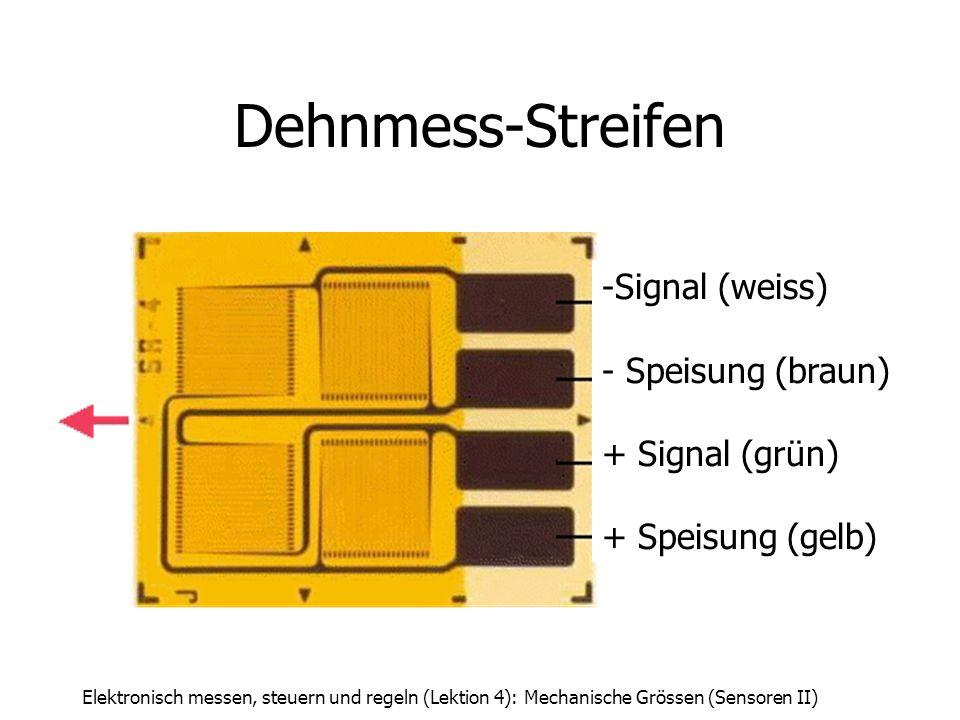 Elektronisch messen, steuern und regeln (Lektion 4): Mechanische Grössen (Sensoren II) Dehnmess-Streifen -Signal (weiss) - Speisung (braun) + Signal (