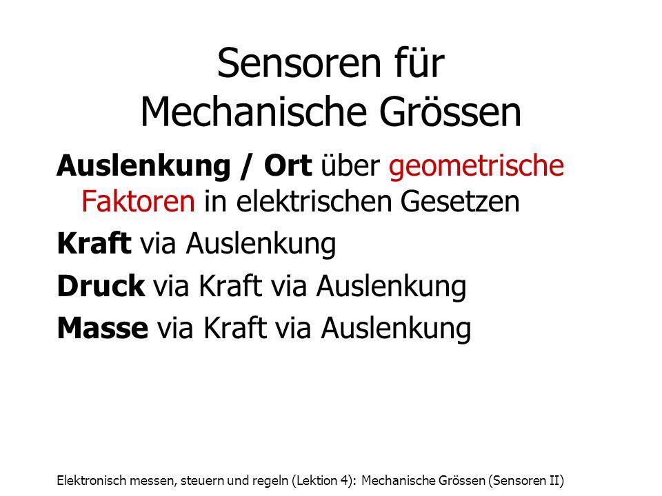 Elektronisch messen, steuern und regeln (Lektion 4): Mechanische Grössen (Sensoren II) Sensoren für Mechanische Grössen Auslenkung / Ort über geometri