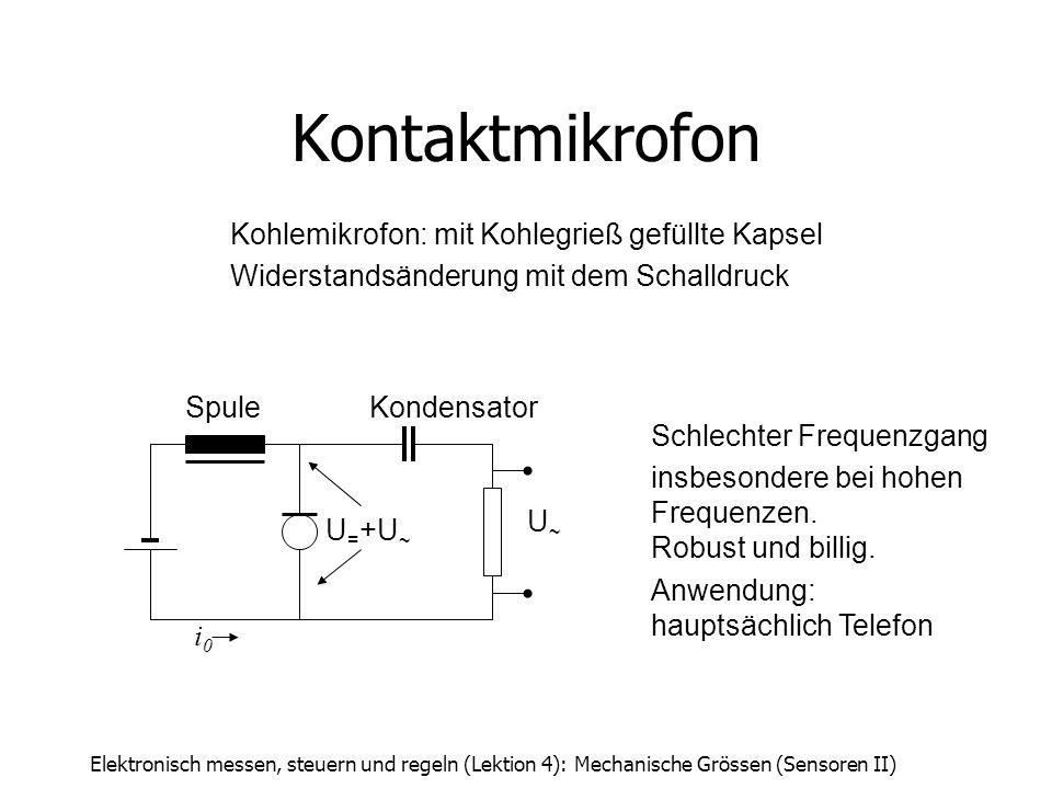 Elektronisch messen, steuern und regeln (Lektion 4): Mechanische Grössen (Sensoren II) i0i0 SpuleKondensator U = +U ~ U~U~ Kohlemikrofon: mit Kohlegri