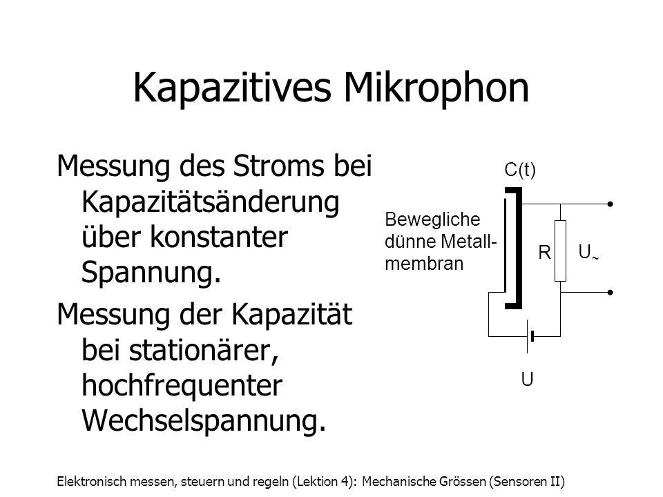Elektronisch messen, steuern und regeln (Lektion 4): Mechanische Grössen (Sensoren II) Kapazitives Mikrophon Messung des Stroms bei Kapazitätsänderung