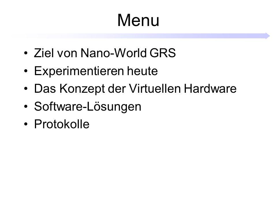 Menu Ziel von Nano-World GRS Experimentieren heute Das Konzept der Virtuellen Hardware Software-Lösungen Protokolle