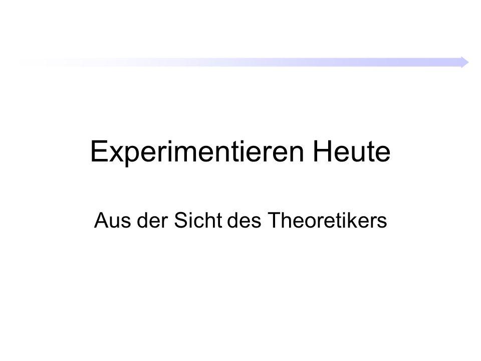 Experimentieren Heute Aus der Sicht des Theoretikers