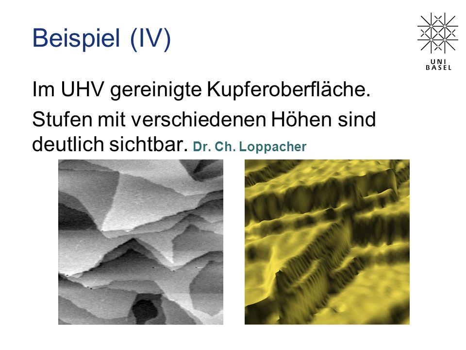 Im UHV gereinigte Kupferoberfläche. Stufen mit verschiedenen Höhen sind deutlich sichtbar. Dr. Ch. Loppacher Beispiel (IV)