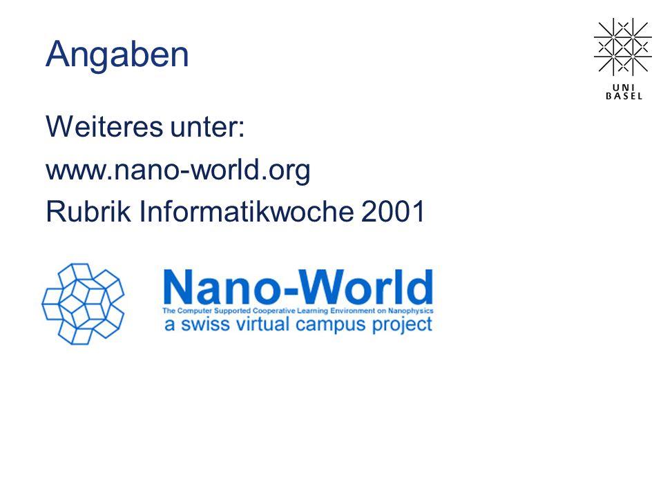 Angaben Weiteres unter: www.nano-world.org Rubrik Informatikwoche 2001