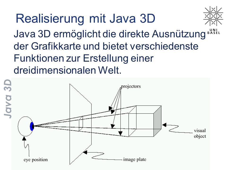 Realisierung mit Java 3D Java 3D ermöglicht die direkte Ausnützung der Grafikkarte und bietet verschiedenste Funktionen zur Erstellung einer dreidimen