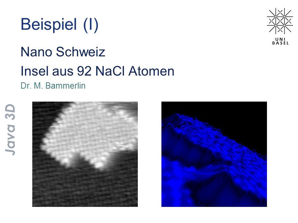 Beispiel (I) Nano Schweiz Insel aus 92 NaCl Atomen Dr. M. Bammerlin Java 3D