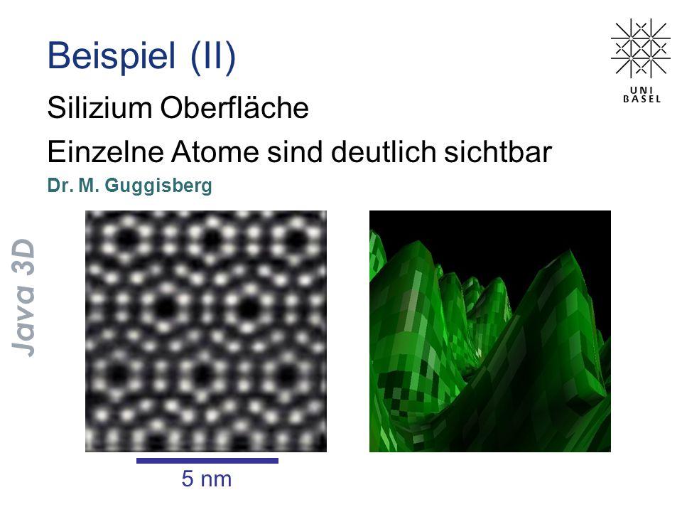 Silizium Oberfläche Einzelne Atome sind deutlich sichtbar Dr. M. Guggisberg Beispiel (II) 5 nm