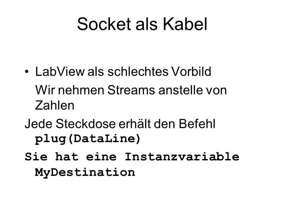 Socket als Kabel LabView als schlechtes Vorbild Wir nehmen Streams anstelle von Zahlen Jede Steckdose erhält den Befehl plug(DataLine) Sie hat eine In