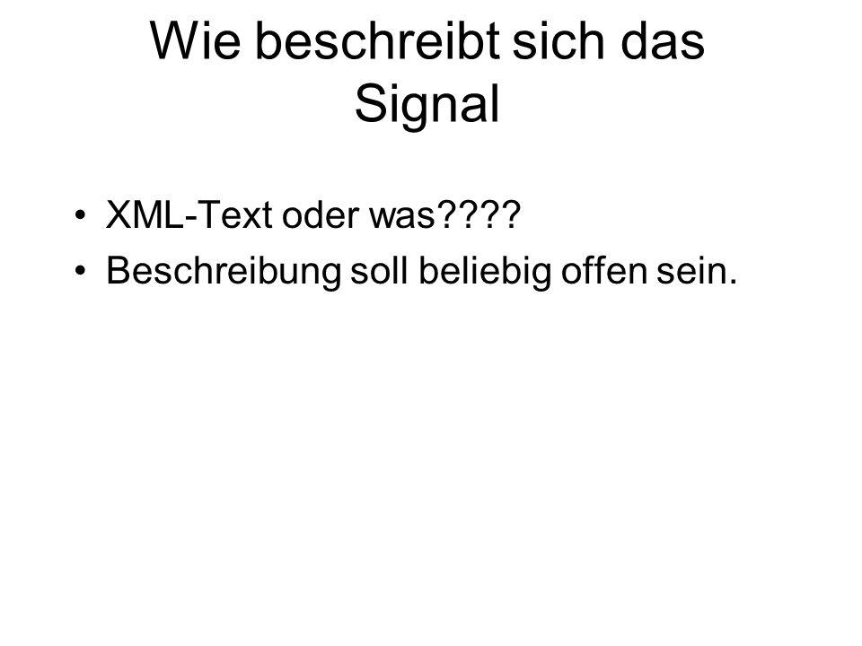 Wie beschreibt sich das Signal XML-Text oder was???? Beschreibung soll beliebig offen sein.
