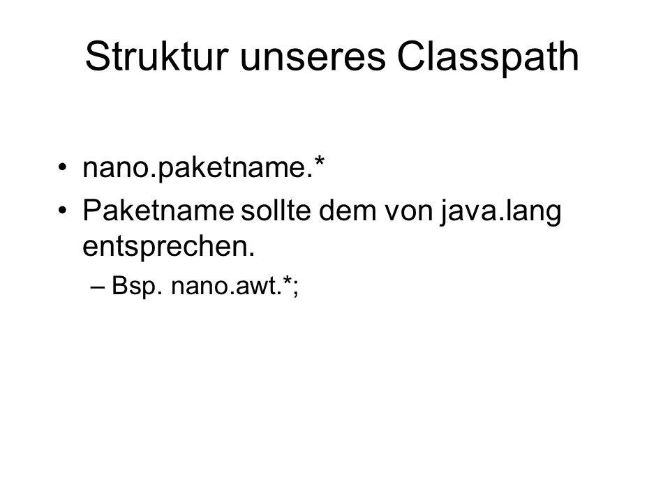 Struktur unseres Classpath nano.paketname.* Paketname sollte dem von java.lang entsprechen. –Bsp. nano.awt.*;