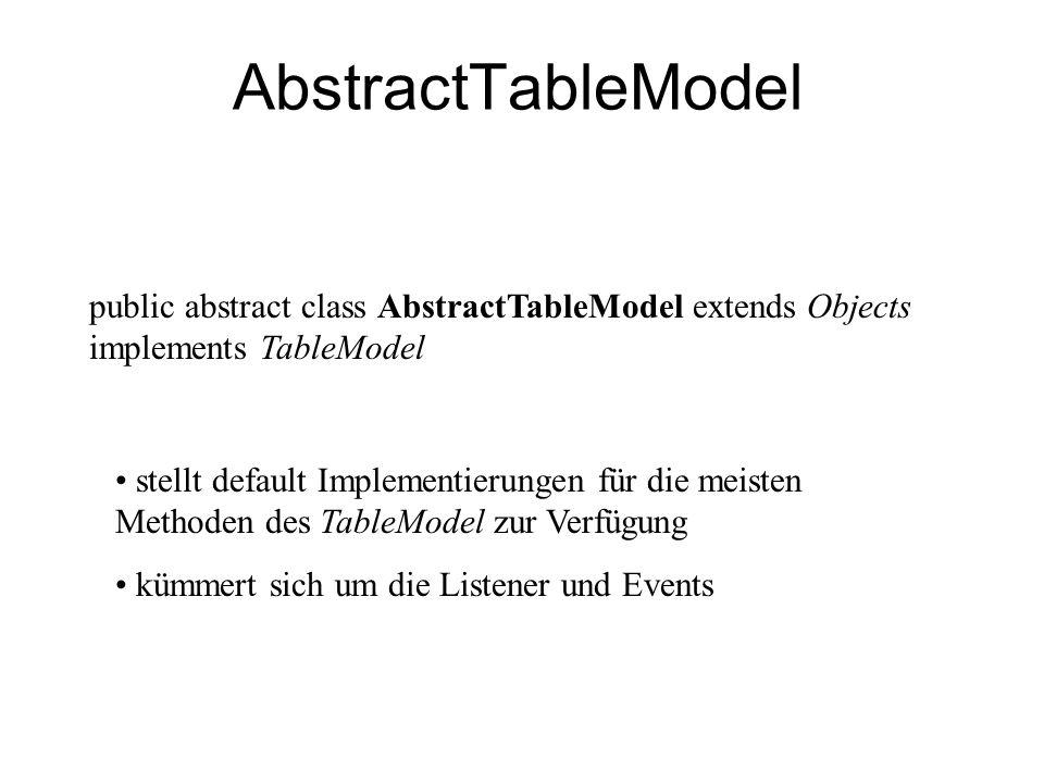 AbstractTableModel public abstract class AbstractTableModel extends Objects implements TableModel stellt default Implementierungen für die meisten Met