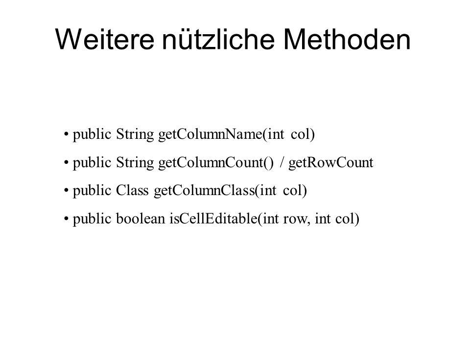 Weitere nützliche Methoden public String getColumnName(int col) public String getColumnCount() / getRowCount public Class getColumnClass(int col) publ