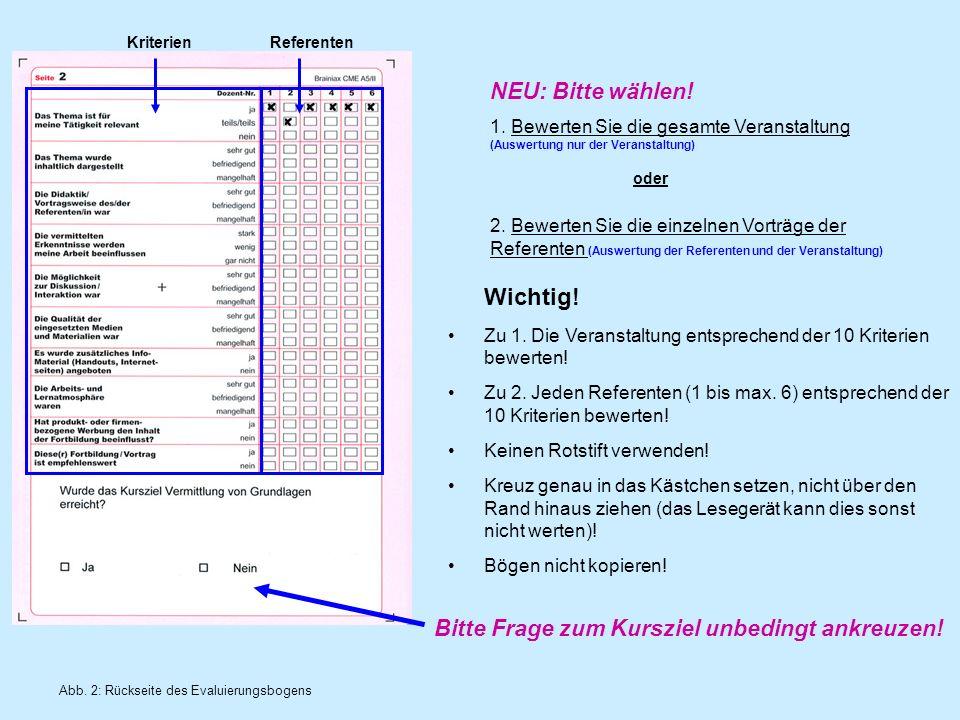 2. Bewerten Sie die einzelnen Vorträge der Referenten (Auswertung der Referenten und der Veranstaltung) Abb. 2: Rückseite des Evaluierungsbogens Krite