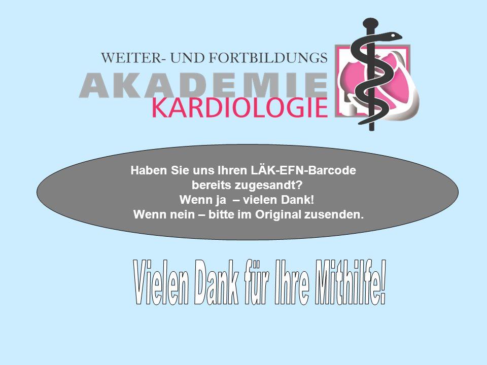 Haben Sie uns Ihren LÄK-EFN-Barcode bereits zugesandt.