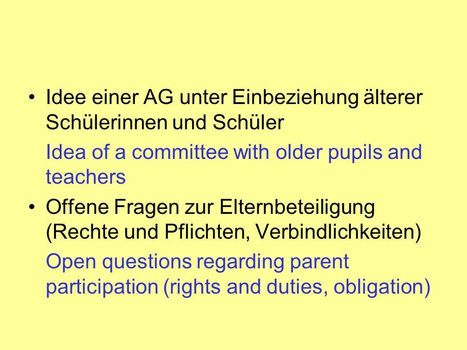 Idee einer AG unter Einbeziehung älterer Schülerinnen und Schüler Idea of a committee with older pupils and teachers Offene Fragen zur Elternbeteiligu