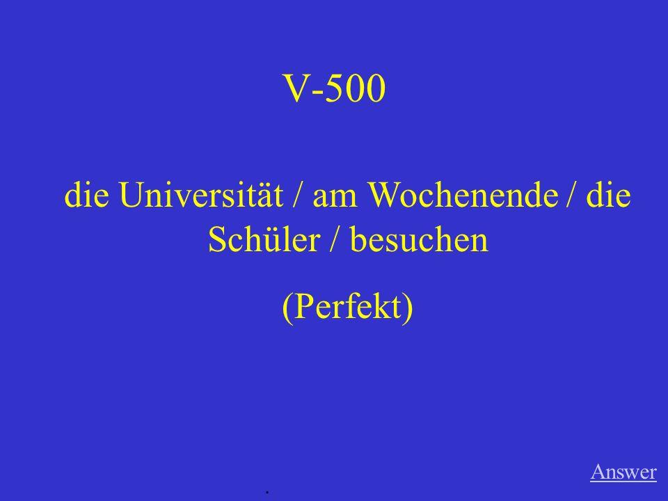 V-400 Answer. Deutsch / in der Deutschklasse / sprechen (Imperfekt)
