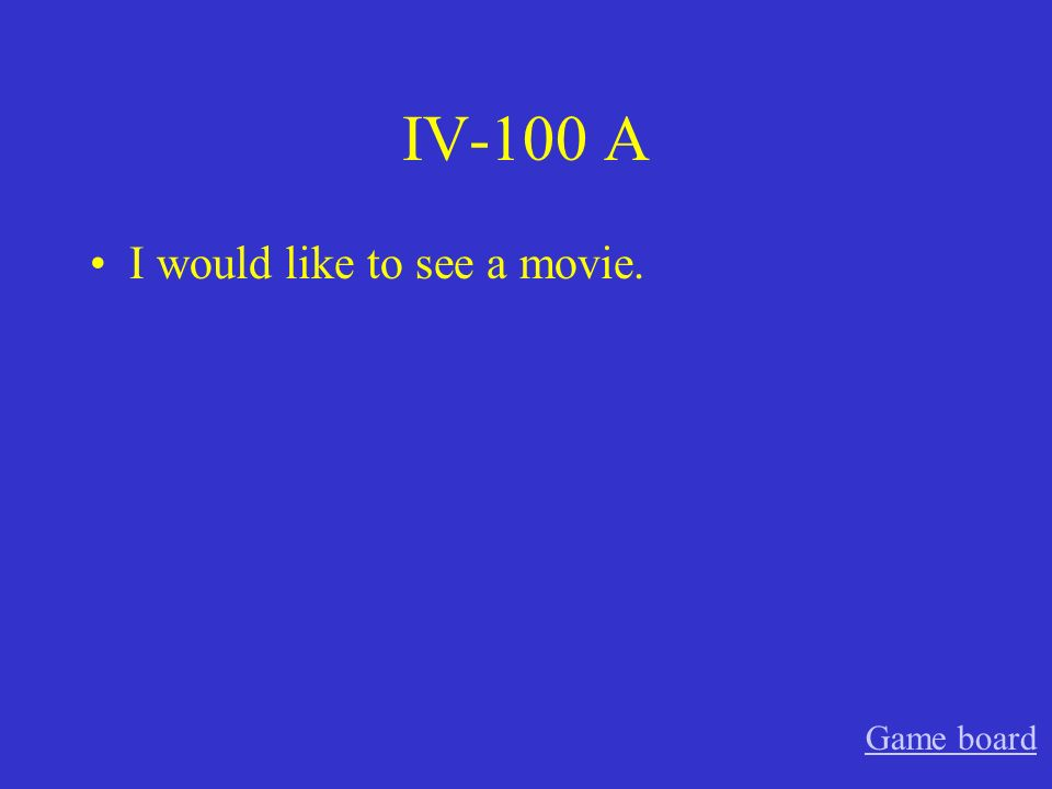 IV-100 A I would like to see a movie. Game board