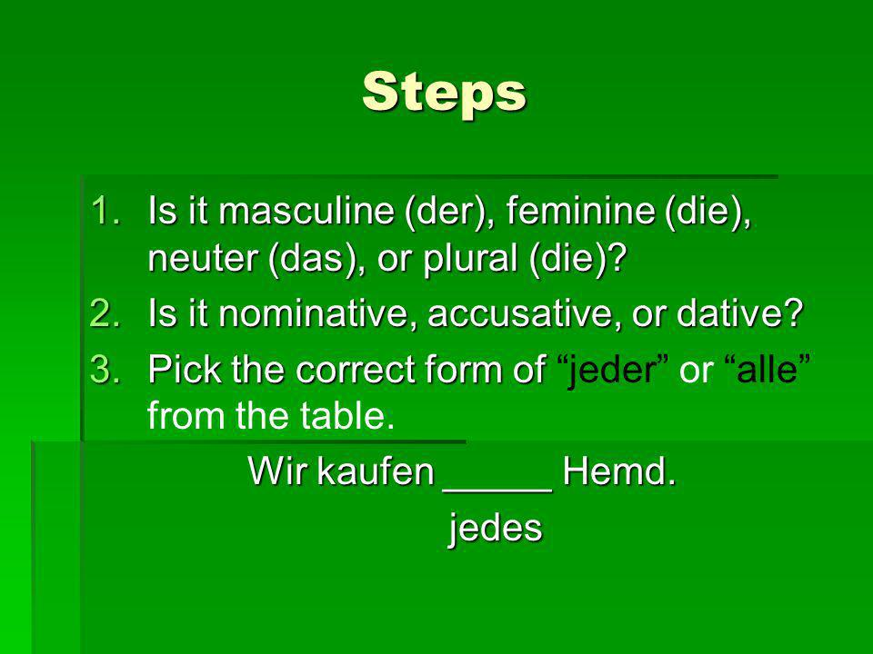 Steps 1.Is it masculine (der), feminine (die), neuter (das), or plural (die)? 2.Is it nominative, accusative, or dative? 3.Pick the correct form of 3.