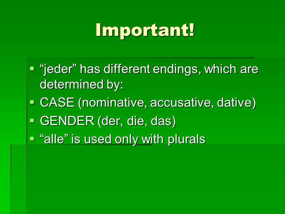 Important! jeder has different endings, which are determined by: jeder has different endings, which are determined by: CASE (nominative, accusative, d