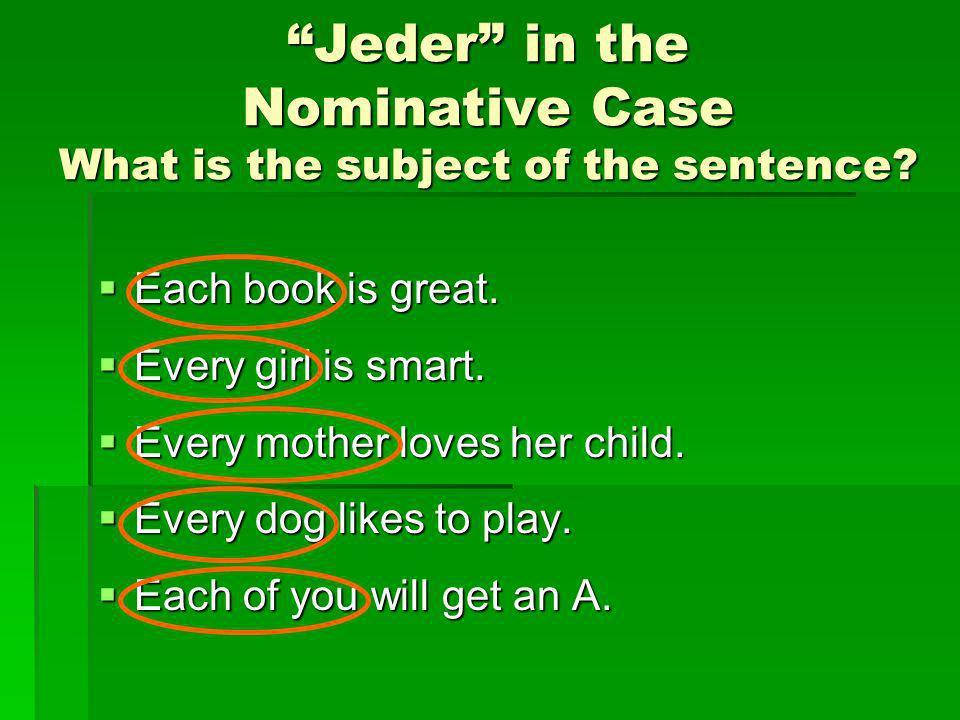 Jeder in the Nominative Case Masculine(der)Feminine(die)Neuter(das)Plural(die) jederjedejedesalle