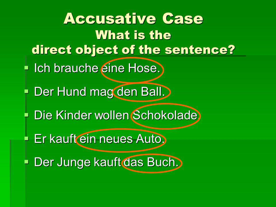 Accusative Case What is the direct object of the sentence.