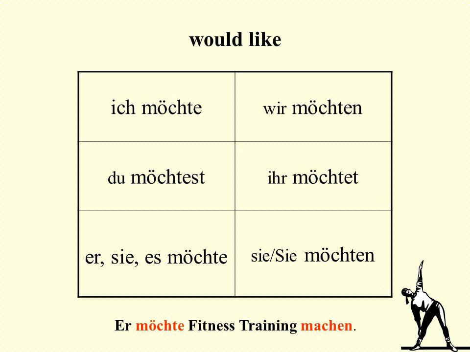 ich möchte wir möchten du möchtest ihr möchtet er, sie, es möchte sie/Sie möchten would like Er möchte Fitness Training machen.